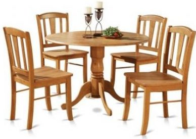 East West Furniture DLIN5-OAK-W 5-Piece Kitchen Set