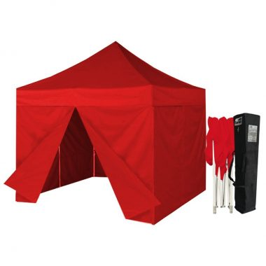 Eurmax 10 X 10 Ez Pop up Canopy Gazebo Commercial Tent with 4 Zippered Side Walls and Carry Bag, Red