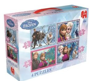 1. Genuine Jumbo Disney FROZEN Puzzle (4 in a Box)-Best Frozen Puzzles in 2017