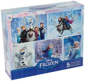 3. Ceaco Frozen 5-in-1 Jigsaw Puzzle Set