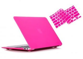 "Ruban - Air 13-inch 2 in 1 Soft-Touch Hard Case Cover and Keyboard Cover for Macbook Air 13.3"" Models: A1369 / A1466 - Hot Pink ( 12 colors more )"